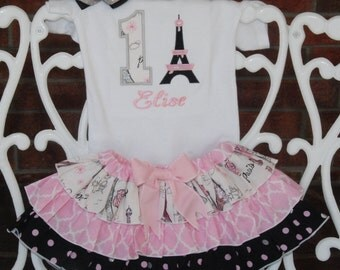 Baby Girl Paris Birthday Outfit! Girls First Birthday Outfit! Birthday in Paris outfit/1st birthday outfit/Pink, black and gray
