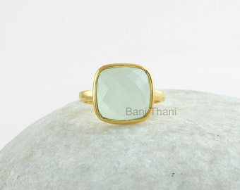 Silver Chalcedony Ring, Aqua Ring, Gemstone Ring, 10mm Cushion Ring, Gold Plated Ring, Bezel Ring, 925 Silver Ring, Gift Ring #1079