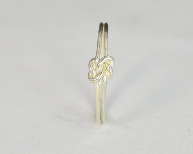 Dainty Silver Double Knot Ring, Love Ring, Love Knot Ring, BFF Ring, Bridal Ring, Promise Ring, Mother Daughter Ring