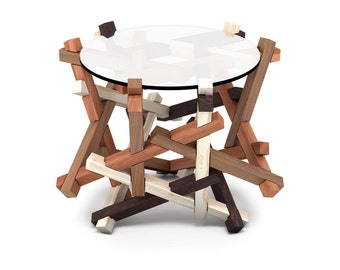 4x6 Round Coffee Table - Puzzle - Glass Coffee Table - Wooden Coffee Table - Side Table
