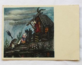 """Illustrator Y. Vasnetsov Vintage Soviet Postcard """"Cat House"""" Marshak Fairy tale - 1958. Sovetskiy hudozhnik. Cat Goat"""