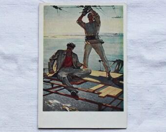 "Artist Bosco. Vintage Soviet Postcard ""Above the Volga"" - 1961. USSR Ministry of Communications Publ."