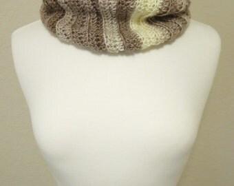 Crochet Cowl in Tan Ombre