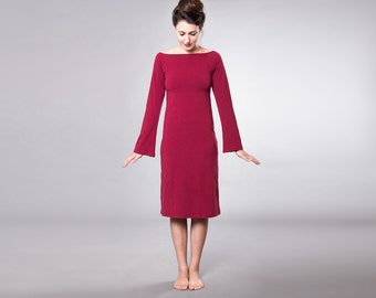 Red Burgundy Cotton Winter Dress, Women's Clothing MD240