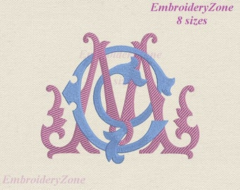 Double antique monograms from old books C & Machine embroidery design. 2 monograms C and M intertwined MC CM. 8 sizes. Hoop 4x4 5x7 6x10
