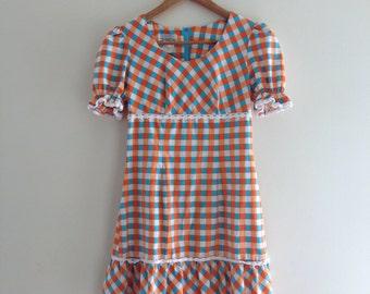Vintage German Blue and Orange Gingham Dress - Size 8/10