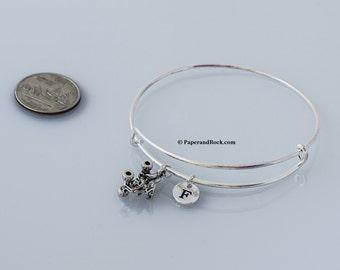 ATV initial bangle - four wheeler bangle, ATV jewelry, quad jewelry, 4 wheeler bracelet, off roading jewelry, silver ATV bracel