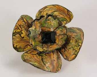 Large Autumn Green Yellow Black Flower Brooch Pin