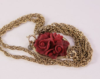 Red Roses Necklace Vintage Pendant, Love Gift, Jewellery Shop
