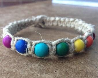 Chakra Beaded Thick Hemp Square Knot Anklet/Bracelet