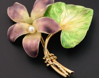 Vintage 14k Gold Enamel Violet Flower Brooch
