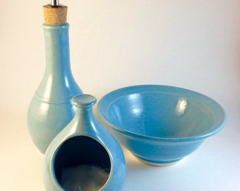 salt cellar with spoon, salt pot, salt pig, salt well, pottery, turquoise, bamboo spoon