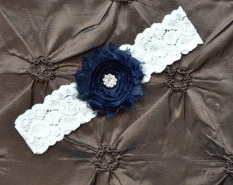 Navy Wedding Garter, Navy Bridal Garter, Navy Garter, White  Lace Wedding Garter, Keepsake Garter, Toss Garter, Navy Wedding Garter Belt
