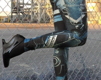 TAFI Cyberpunk Nova Leggings - Sci-Fi Body Armor Video Game-inspired Costume Yoga Pants Black Milk Galaxy CosPlay Print