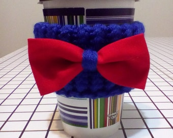 Doctor Who Knitted Coffee Cozy with Bow Tie