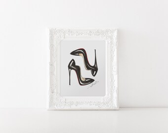 Heel art, Designer heels art, Fashion Illustration,fashion sketch, fashion print, shoes illustration, fashion wall art, Fashion heels art