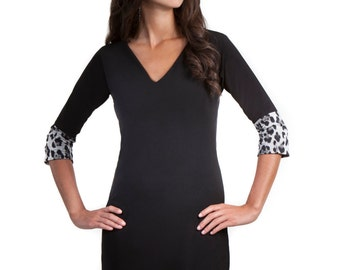 Lola Little Black Dress with Leopard Print Cuffs