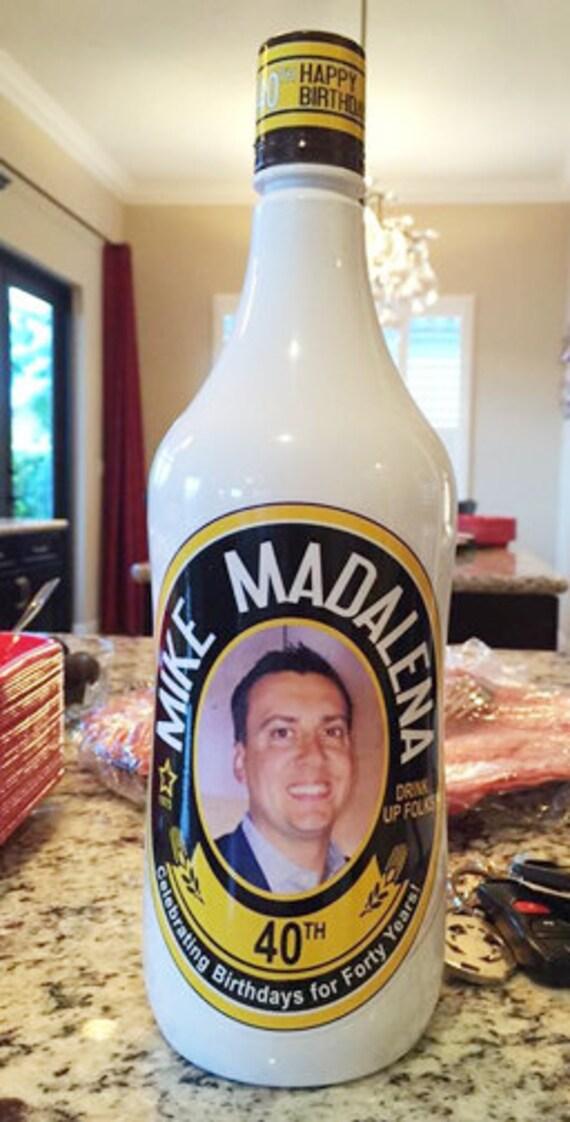 Personalized liquor bottle label party favor malibu rum label name