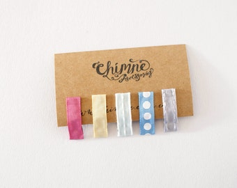 Baby Hair Clips / Tiny Snap Clips / Infant Hair Clips / Pink Yellow Blue Silver Mint Clips / Set of 5