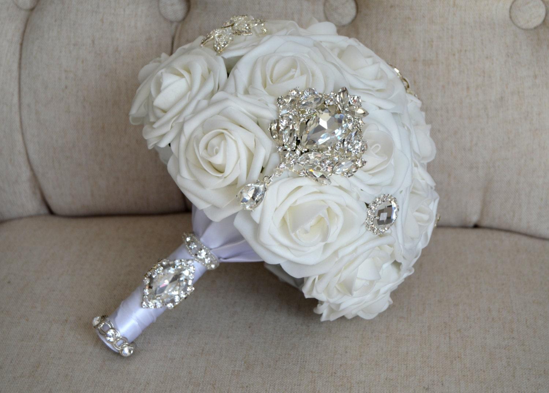 Elegant White Bridal Bouquet : Brooch bridal bouquet luxurious elegant white by