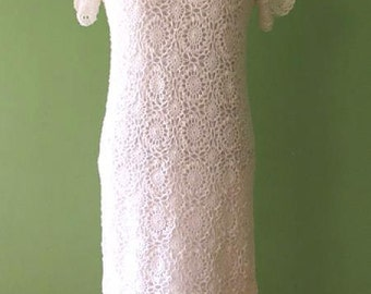 Crochet Dress Crocheted dress Hand Crochet Dress White crochet dress Crochet lace dress Wedding lace dress Linen dress