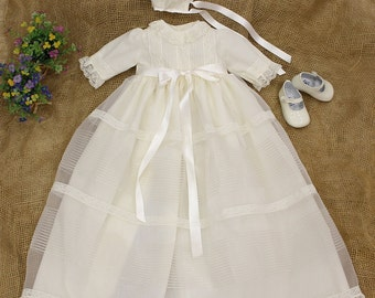 Christening ivory gown with bonnet and laces. Baby's baptism dress. Baptism dress Christening Gown. Blessing Gown. Christening Dress.