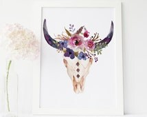 printable art, bull head print, cow skull wall art, tribal wall art, boho wall art, southwestern art, tribal nursery wall art, print art