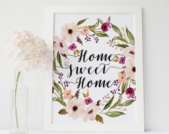 Home sweet home, floral print, floral quote, shabby chic print, boho print, floral printable, affiche citation gallery wall print