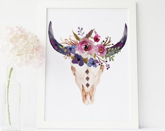 gallery wall print art, bull head print, cow skull wall art, tribal boho wall, southwestern art, tribal nursery wall art, print art