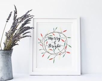 christmas print, Merry And Bright, christmas printable, 8x10 and 5x7. christmas wreath