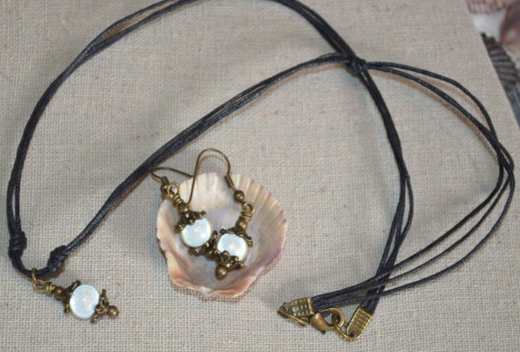 Necklace & Earring Set White Glass Beads with Bronze on Knotted Black Cord