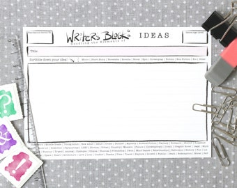 Writer's Block Ideas Cards | Pack of 40 | A6 size | Ideas Template | Develop your Ideas and Stories | Author & Writer's Tool