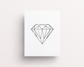 Black Geometric Diamond, Gemstone Print, Minimal Print, Kylie Print, Geometric Shapes, Line Art, Diamond Print, Dorm Wall Art, Printable Art