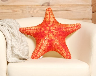 Starfish Pillow — sea star coastal pillow, sea creature pillow, red designer pillow