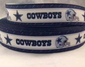 "Dallas Cowboys Ribbon - Football Ribbon - 7/8"" Grosgrain Ribbon by the yard, for hair bows,crafting & more!  Football Ribbon - Cowboys"