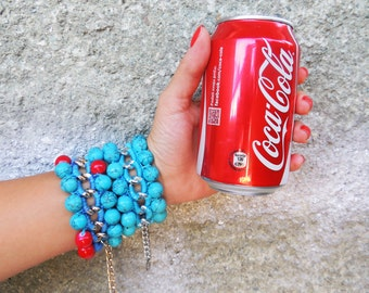 Chunky Turquoise Bracelet Turquoise Bead Bracelet Woven Chain Bracelet Stackable Boho Chic Jewelry Chunky Chain Bracelet Hippie Chic Style
