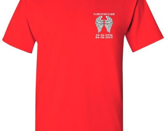 Customize My Guardian Angel Shirt With Name, Date Of Birth, Date Of Deceased Add On