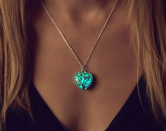 Small Aqua Heart Necklace - Valentine's Day - Jewelry - Glowing Heart - Mommy and Me Necklace - Glow in the Dark Jewelry - Gift for Women