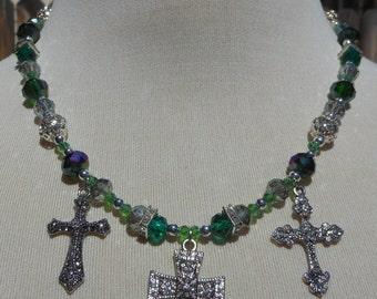 Thalassa Darksea Handmade Gothic Beaded Necklace with Rhinestones, Silver, Green and Smoke Glass Beads with Three Rhinestone Cross Pendants