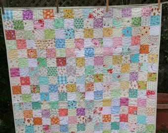 Baby girl postage stamp quilt #1