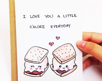 Funny Valentine card, valentines day card boyfriend, cute valentine card, funny anniversary card, funny love card, pun card, s'more card