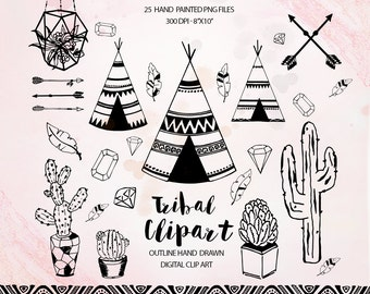 Tribal clipart, teepee feathers clip art , cactus clipart, feathers, arrows clipat, ethnic clipart, succulent clip art, gemstone ring