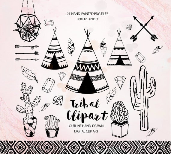 Tribal clipart, teepee feathers clip art , cactus clipart, feathers ...
