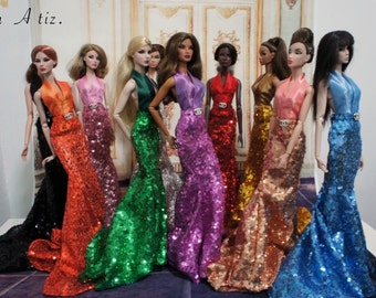 "Glitter Gown for 12"" dolls like Barbie or Fashion Royalty"