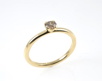 Diamond ring, champagne diamond ring, 10 ct ring, gold ring, yellow gold ring