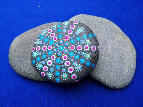 Items Similar To Dot Painting On Beach Stone, Hand Painted