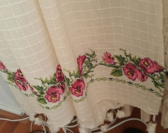 Shabby Chic-French Country Curtain-Embroidery Curtains Rustic Curtain Floral Curtain Lace Curtain Kitchen Curtain