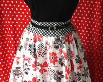 1950s Style Circle Skirt in Red, Black and Gingham