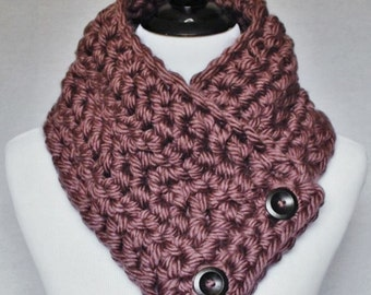Purple Chunky Button Cowl, Mauve Crochet Neck Warmer, Wrap Scarf - Dusty Rose, Pink