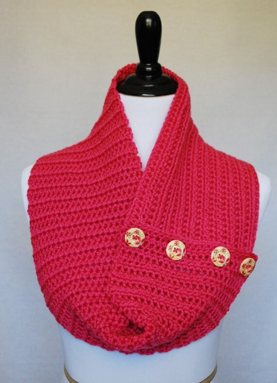 Pink Crochet Infinity Scarf, Draped Button Cowl, Fuchsia Button Scarf, Pink Neck Warmer, Handmade Pink Scarf